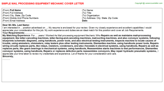 Mail Processing Equipment Mechanic Cover Letter