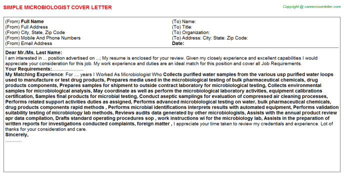 Microbiologist Job Cover Letter Example