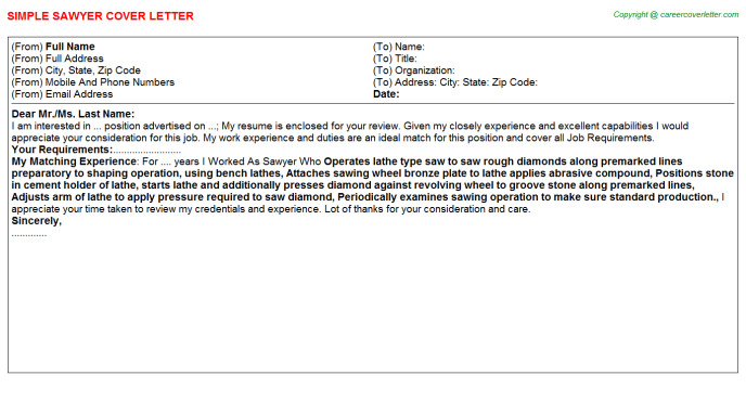 Sawyer Job Cover Letter Template