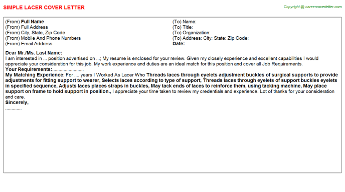 Lacer Job Cover Letter Template