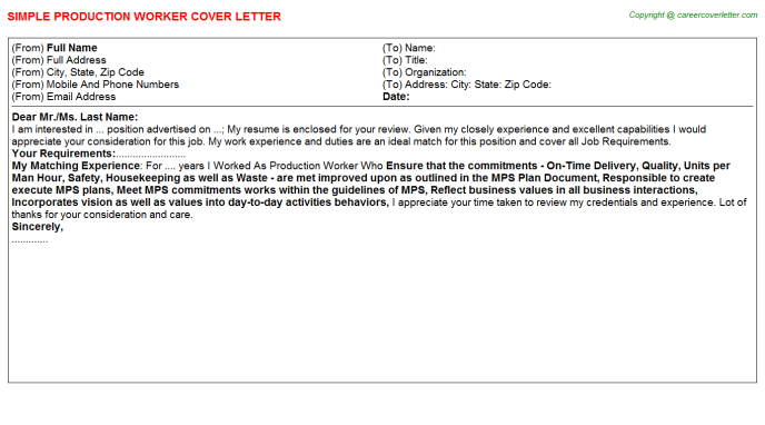Production Worker Cover Letter Template