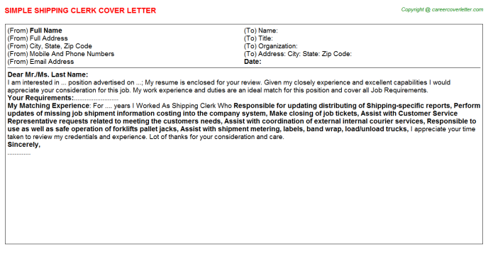 Shipping Clerk Cover Letter Template