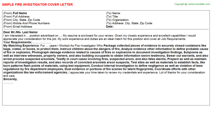 Fire Investigator Job Cover Letter