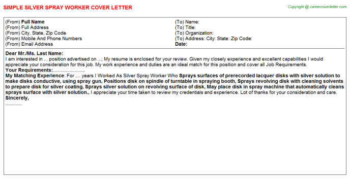 Silver Spray Worker Job Cover Letter Template