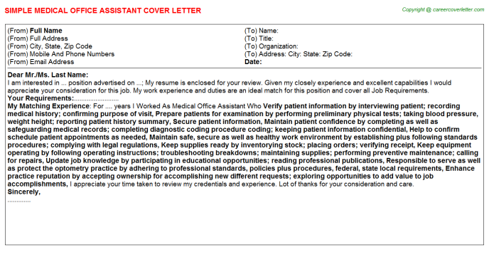 Medical Office Assistant Cover Letter Template