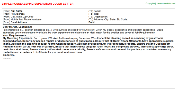 Housekeeping Supervisor Job Cover Letter Template
