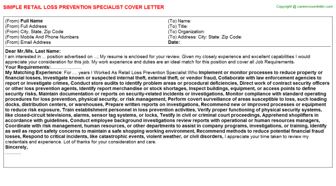 Retail Loss Prevention Specialist Job Cover Letter Template