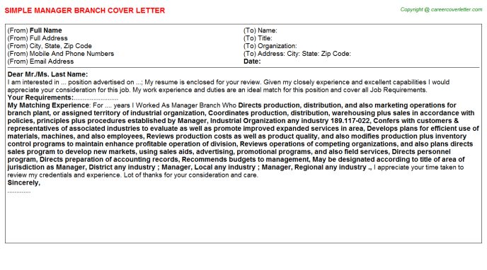 Manager Branch Cover Letter Template