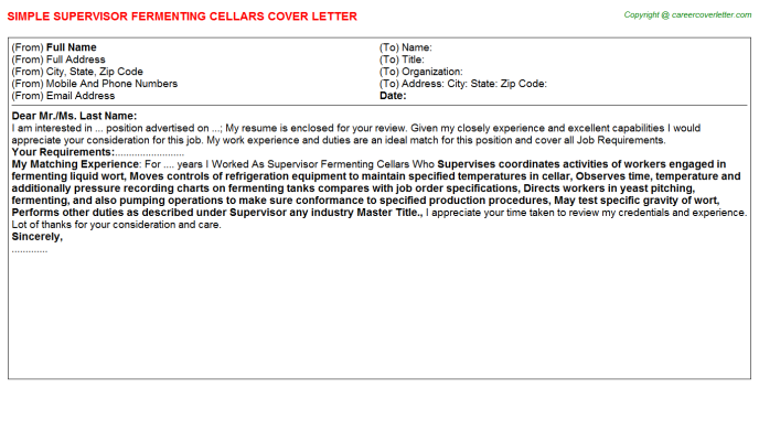 Supervisor Fermenting Cellars Job Cover Letter Template