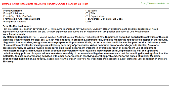 Chief Nuclear Medicine Technologist Job Cover Letter