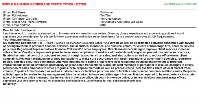 Manager Brokerage Office Cover Letter Template
