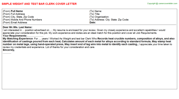 Weight And Test Bar Clerk Cover Letter Template