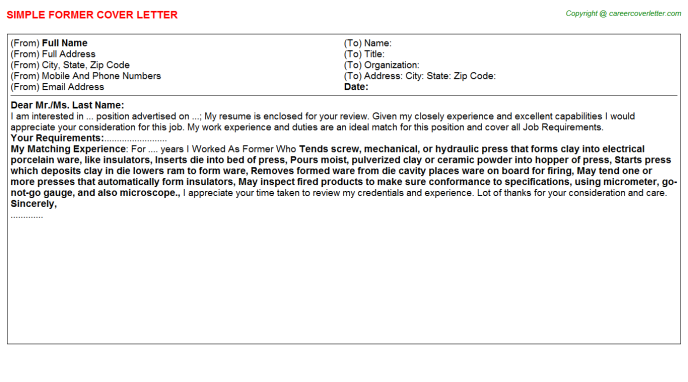 Former Cover Letter Template