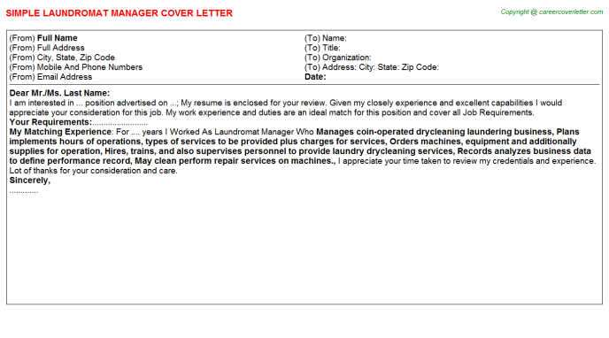 laundromat manager cover letter template