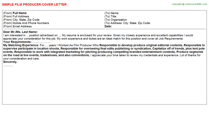 Film Producer Cover Letter Template