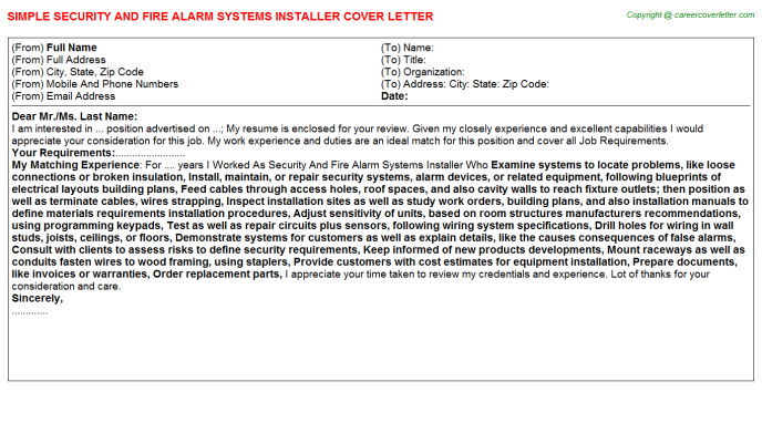 Security And Fire Alarm Systems Installer Job Cover Letter