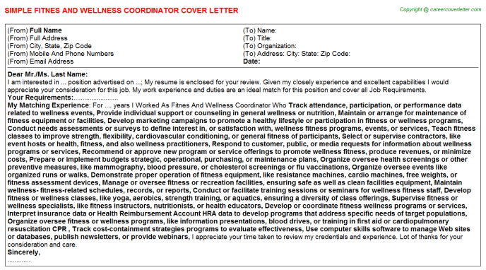 Fitnes And Wellness Coordinator Job Cover Letter