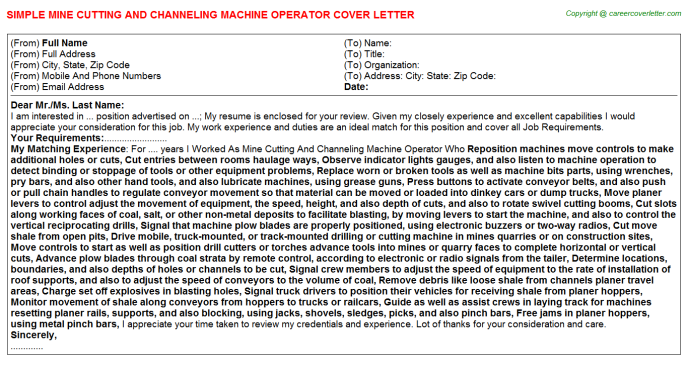 Mine Cutting And Channeling Machine Operator Cover Letter Template