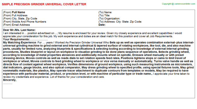 Precision Grinder Universal Cover Letter Template