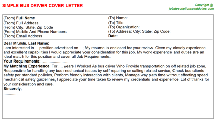 Bus Driver Job Cover Letter Template