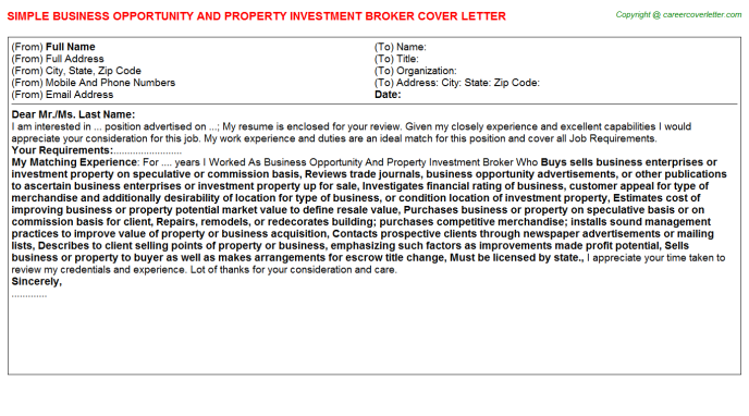 Business Opportunity And Property Investment Broker Job Cover Letter ...