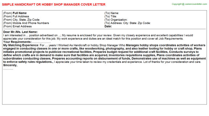 Handicraft Or Hobby Shop Manager Cover Letter Template