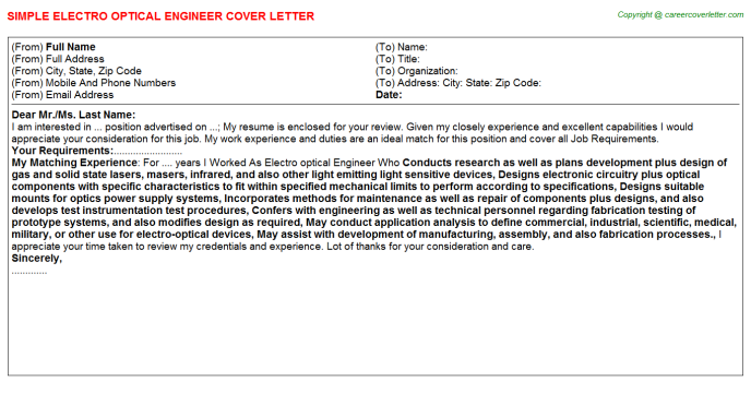 Electro Optical Engineer Cover Letters