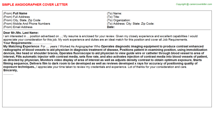 Angiographer Cover Letter Template