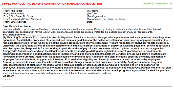 Payroll And Benefit Administration Manager Job Cover Letter ...