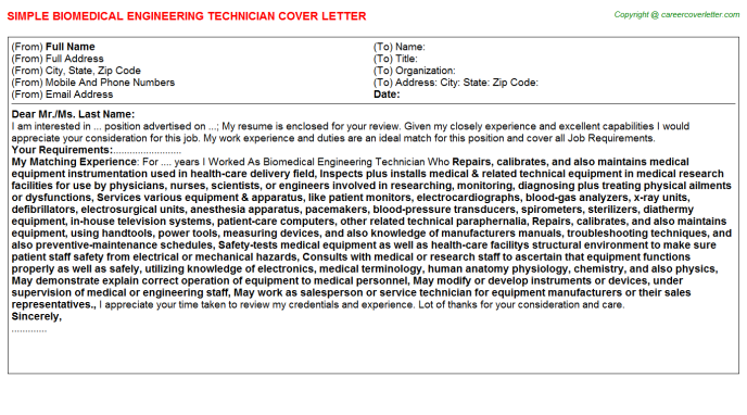 Biomedical Engineering Technician Cover Letter