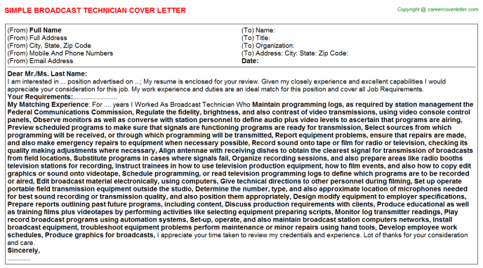 Broadcast Technician Job Cover Letter Template