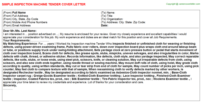 Inspection Machine Tender Cover Letter Template