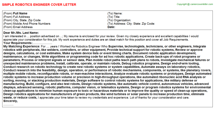 Robotics Engineer Cover Letter