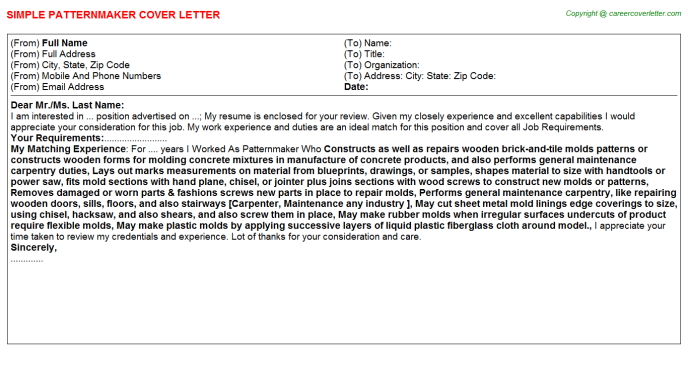 Patternmaker Cover Letter Template