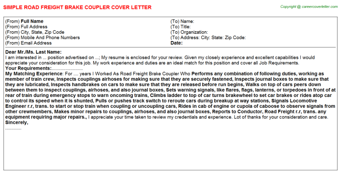 Freight Handler Cover Letters