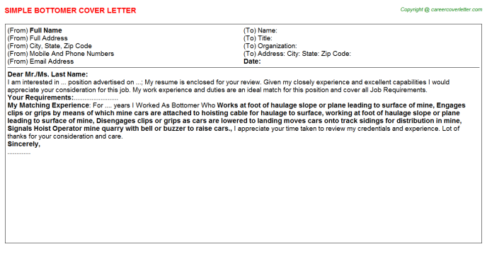 Bottomer Job Cover Letter Template