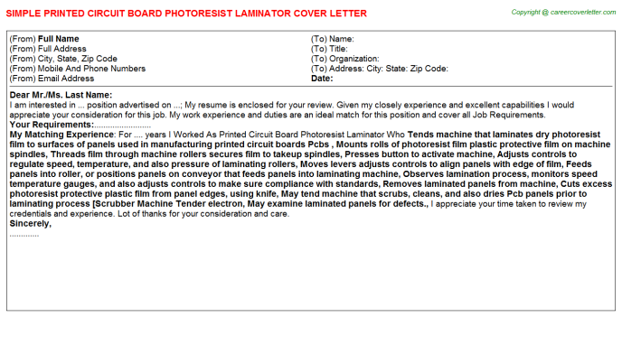 printed circuit board photoresist laminator cover letter template