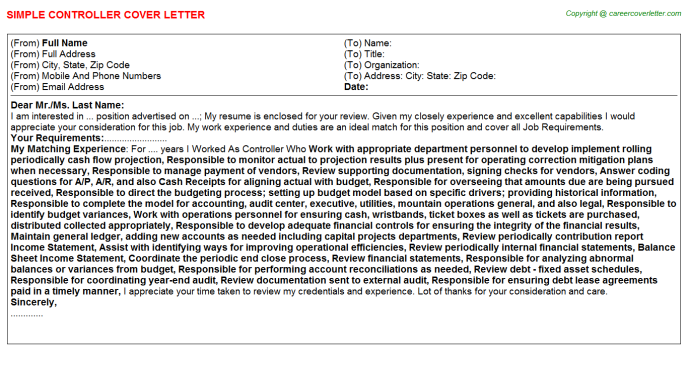 Controller Cover Letter Template