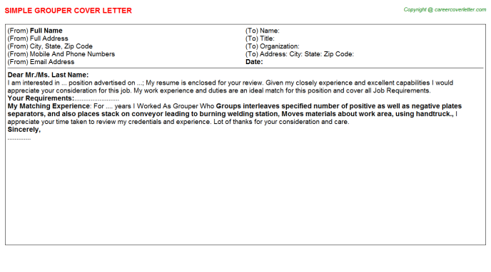 Grouper Cover Letter Template