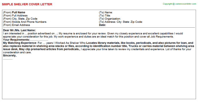 Shelver Cover Letter Template