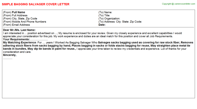Bagging Salvager Cover Letter Template
