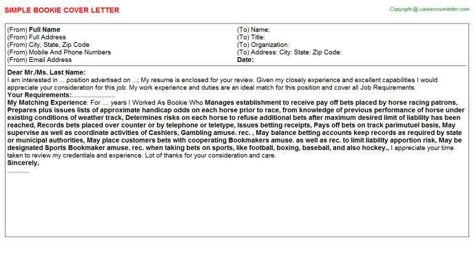 Bookie Job Cover Letter Template