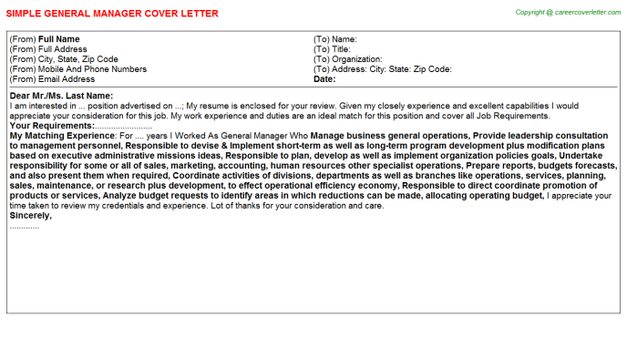 General Manager Cover Letter Template