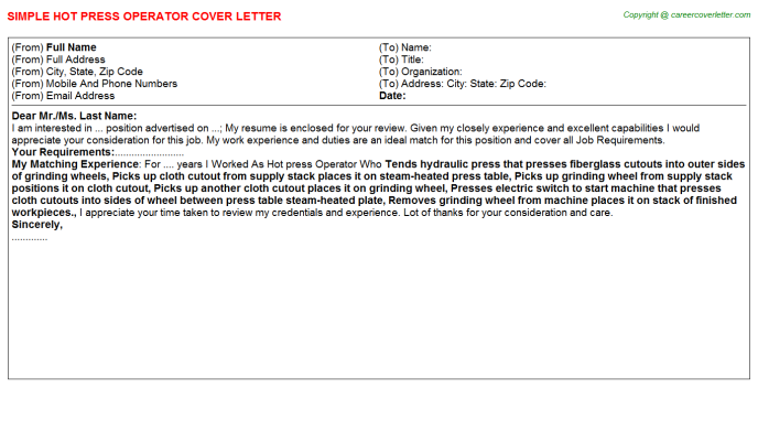 Hot press Operator Cover Letter Template