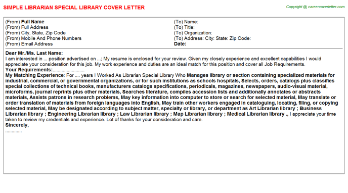 Librarian Special Library Job Cover Letter Template