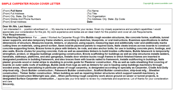 Carpenter Rough Job Cover Letter