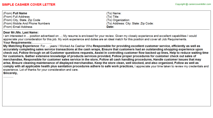 Cashier Cover Letter Template