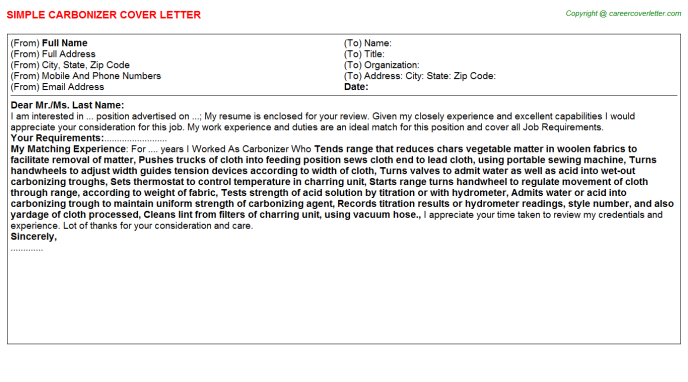 Carbonizer Job Cover Letter Template