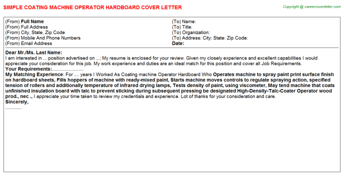 coating machine operator hardboard cover letter template
