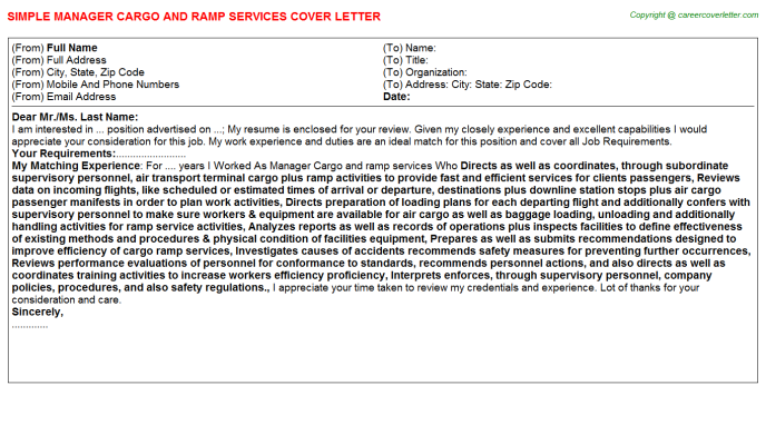Manager Cargo And Ramp Services Job Cover Letter | Cover Letters